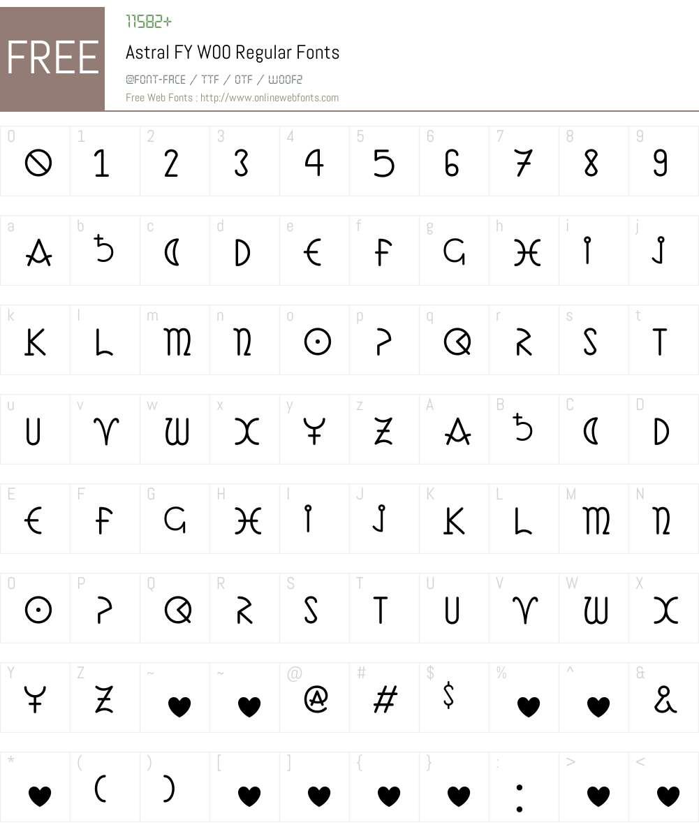 AstralFYW00-Regular Font Screenshots