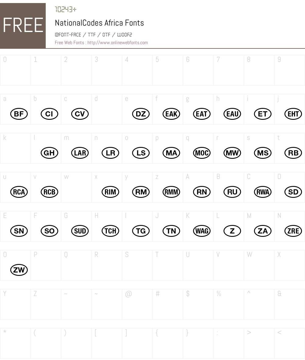 NationalCodes Font Screenshots