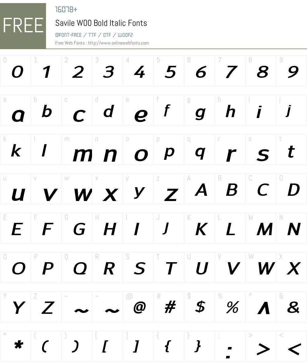 SavileW00-BoldItalic Font Screenshots