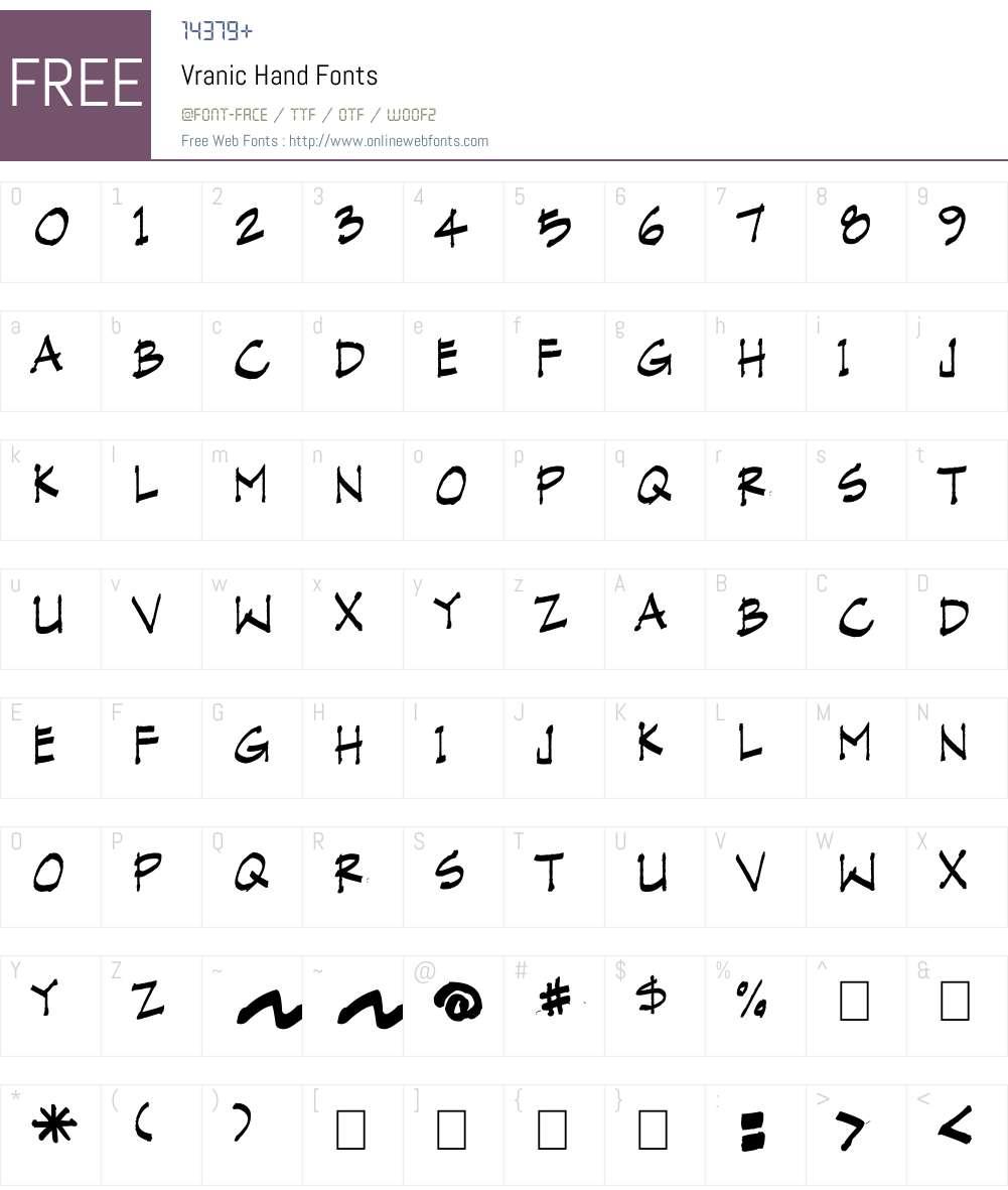 Vranic Hand Font Screenshots