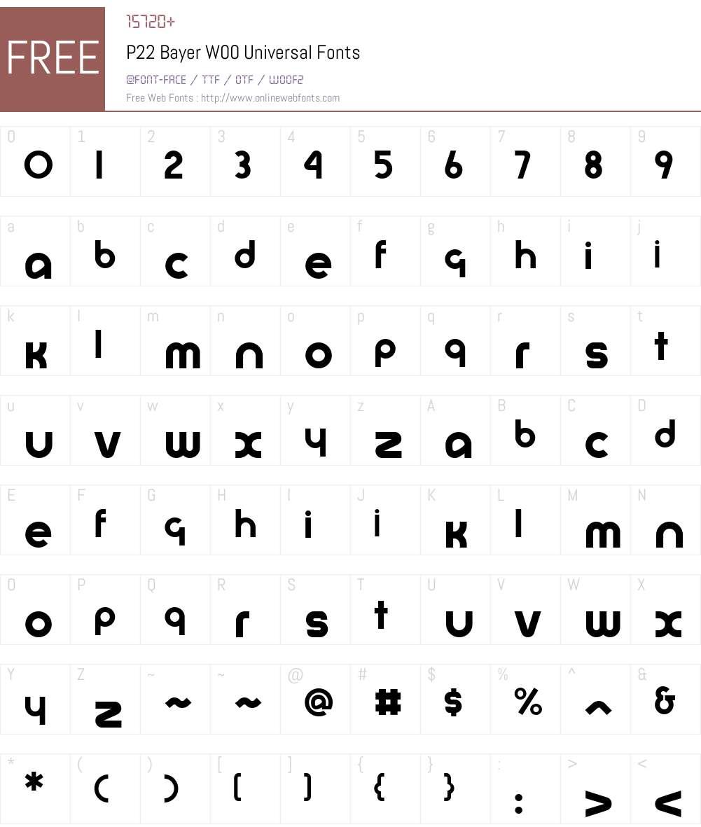 P22BayerW00-Universal Font Screenshots