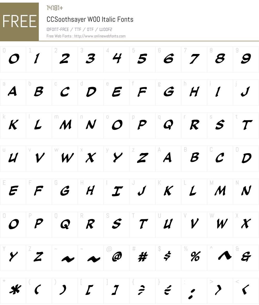 CCSoothsayerW00-Italic Font Screenshots