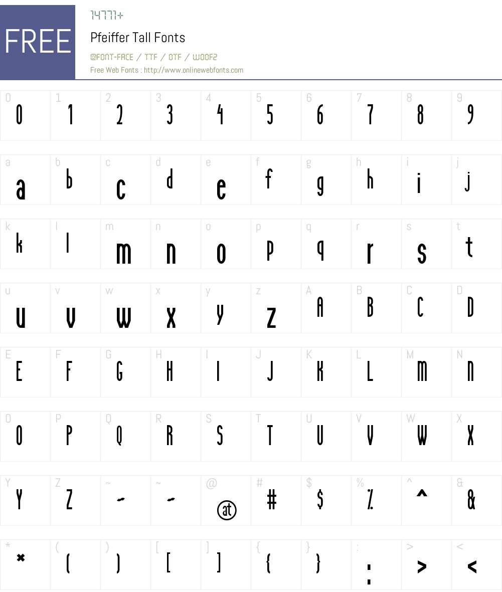 Pfeiffer Tall Font Screenshots