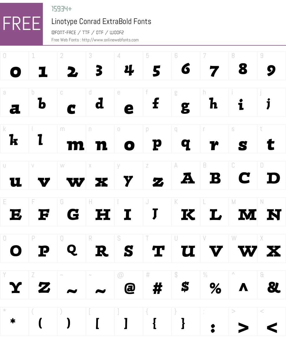 LTConrad Font Screenshots