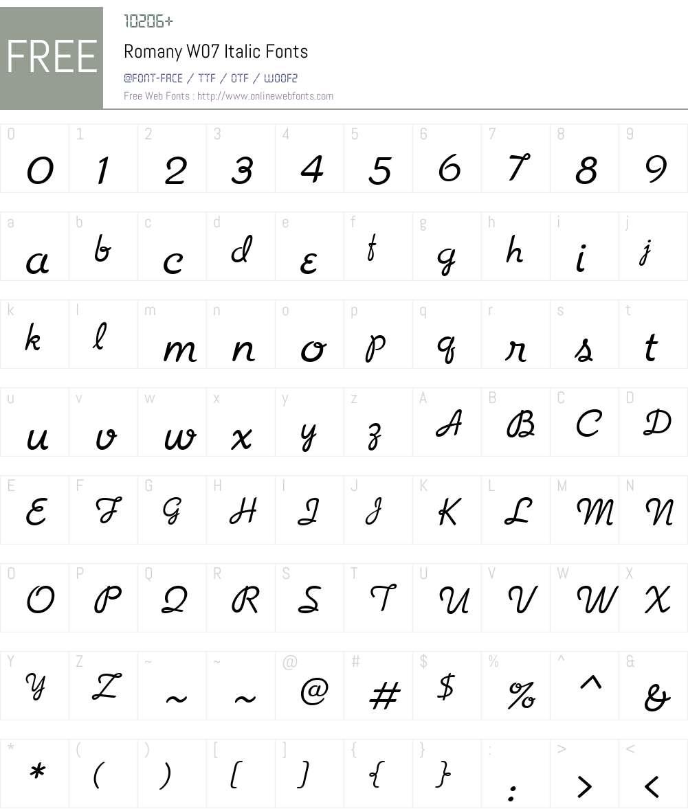 Romany Font Screenshots