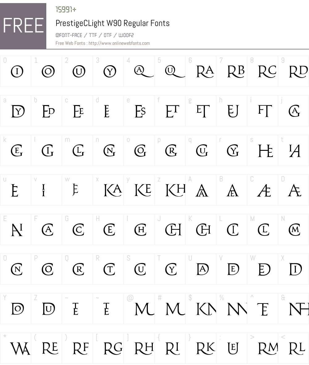 PrestigeCLightW90-Regular Font Screenshots