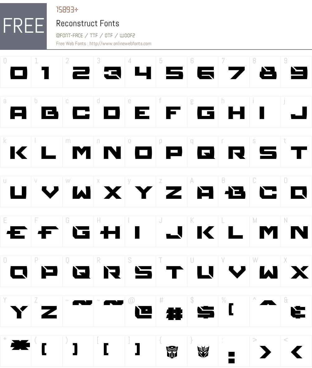 Reconstruct Font Screenshots
