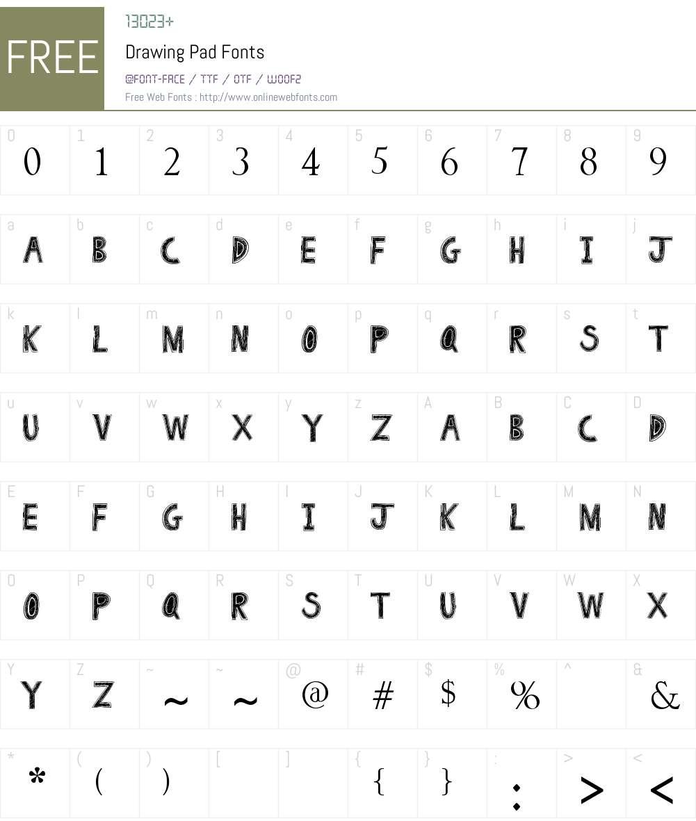 Drawing Pad Font Screenshots