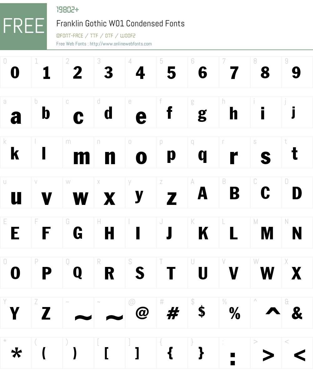 FranklinGothicW01-Condensed Font Screenshots