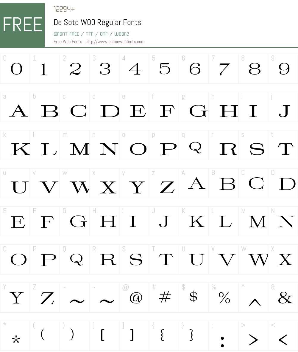 DeSotoW00-Regular Font Screenshots
