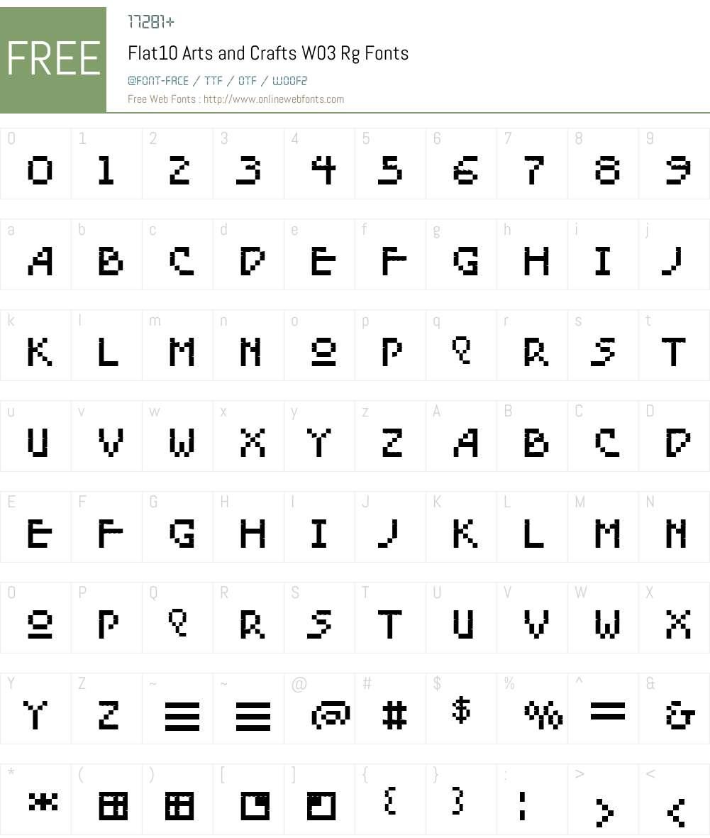 Flat10ArtsandCraftsW03-Rg Font Screenshots