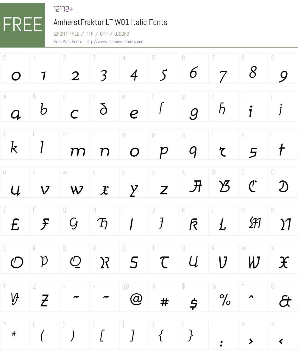 AmherstFrakturLTW01-Italic Font Screenshots