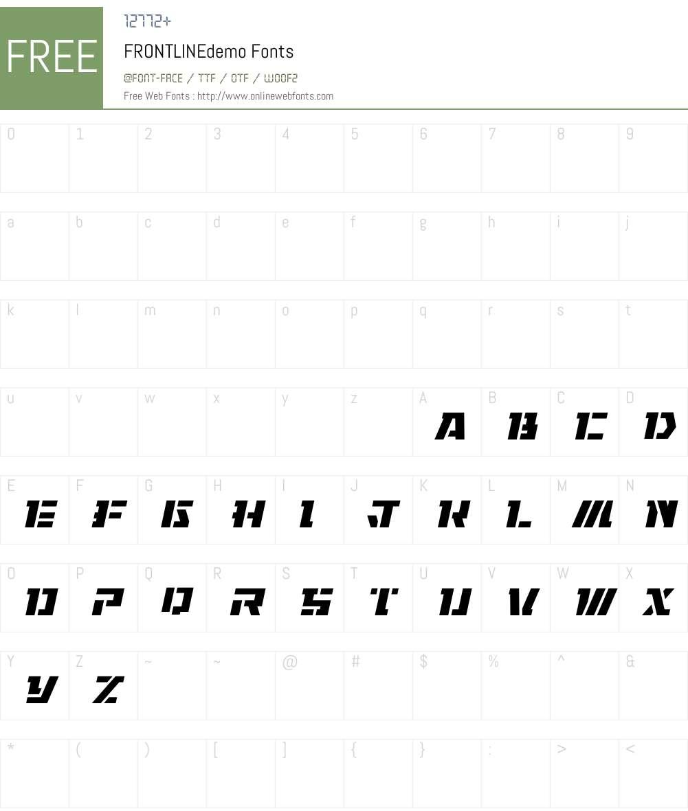 FRONTLINEdemo Font Screenshots