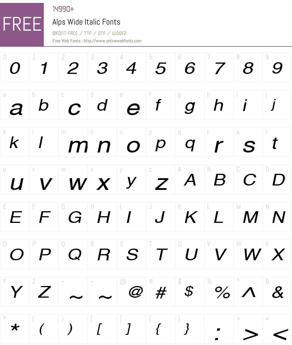 Alps Wide Font Screenshots