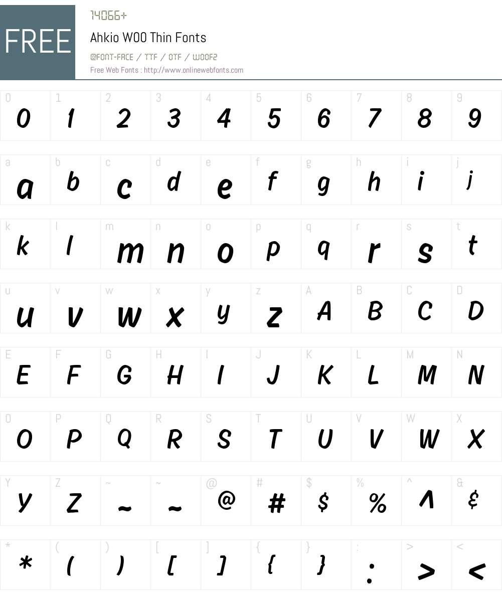 AhkioW00-Thin Font Screenshots