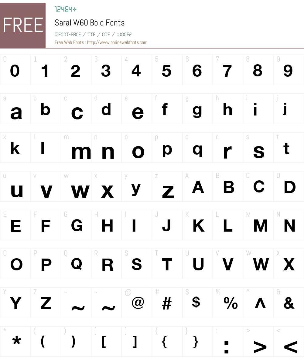 SaralW60-Bold Font Screenshots
