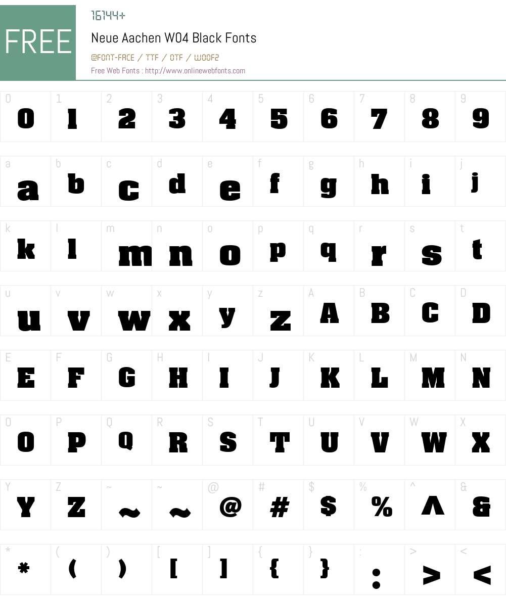 Neue Aachen Font Screenshots