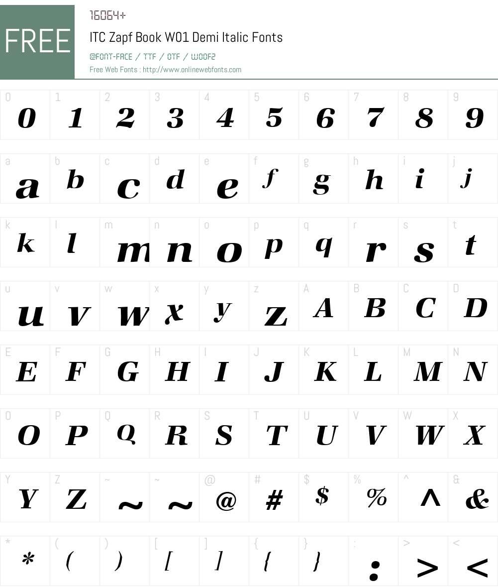 ITCZapfBookW01-DemiItalic Font Screenshots