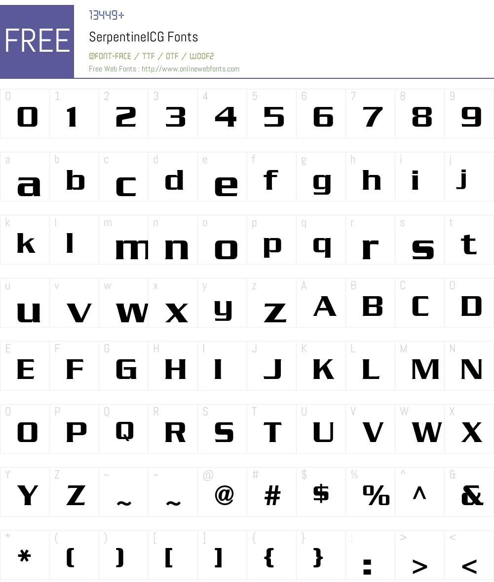SerpentineICG Font Screenshots