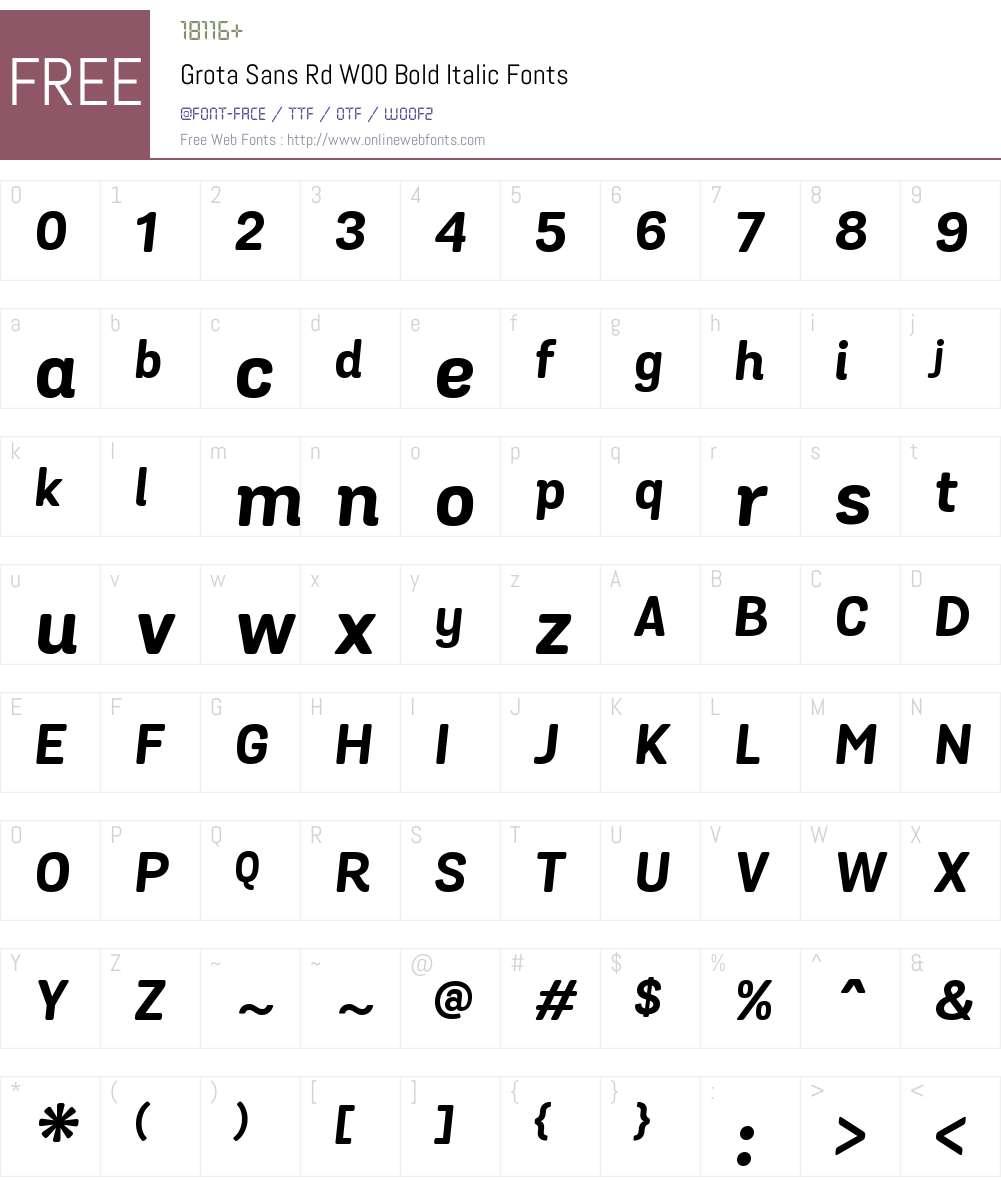 GrotaSansRdW00-BoldItalic Font Screenshots