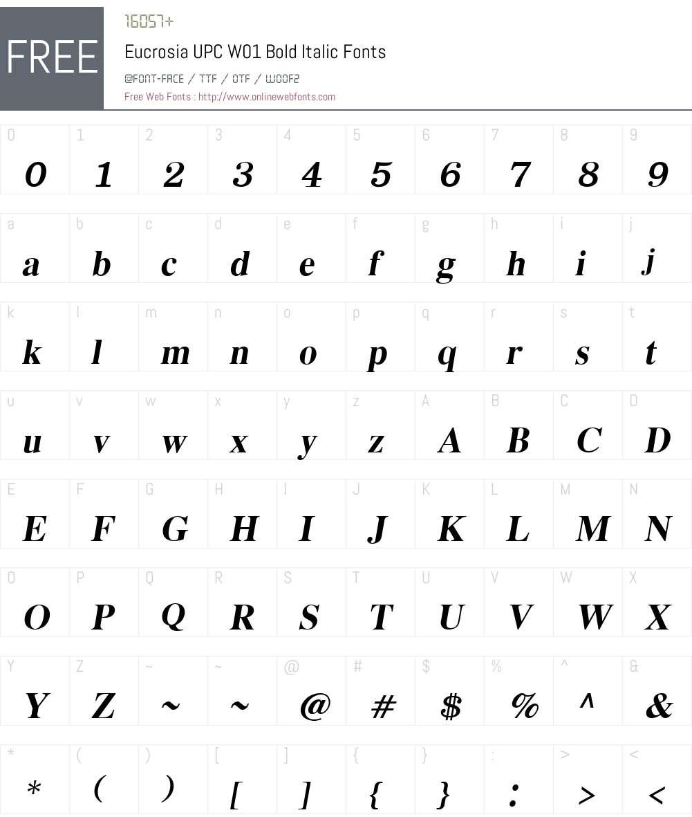 EucrosiaUPCW01-BoldItalic Font Screenshots