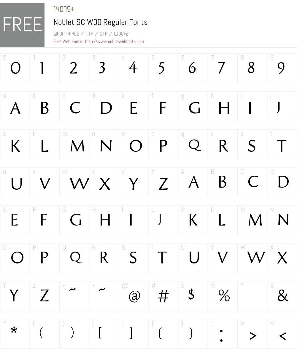NobletSCW00-Regular Font Screenshots