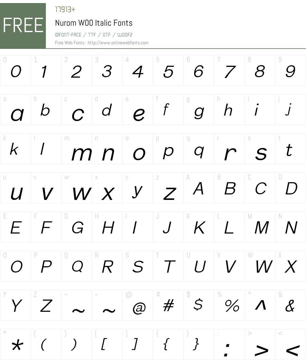 NuromW00-Italic Font Screenshots