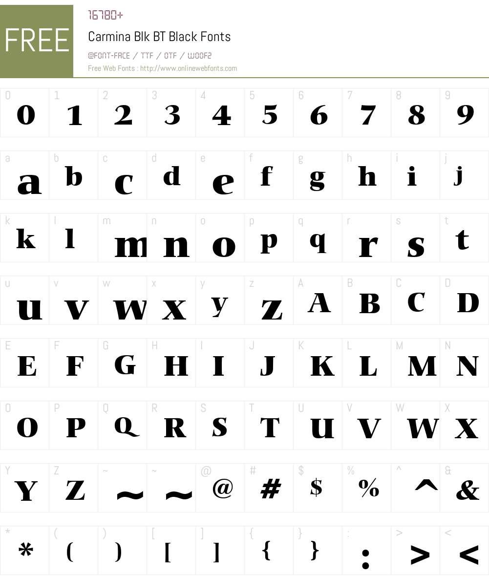 Carmina Blk BT Font Screenshots