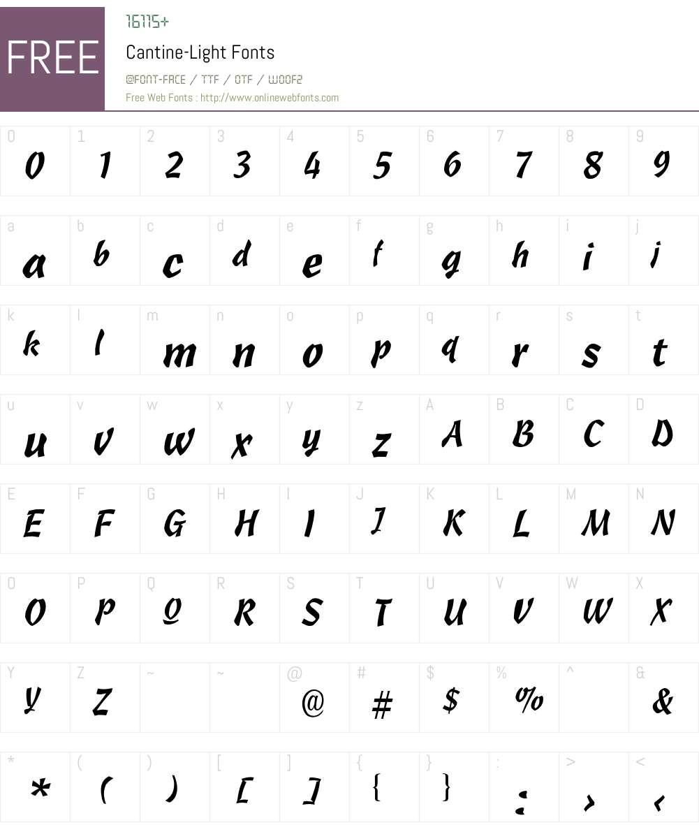 Cantine-Light Font Screenshots