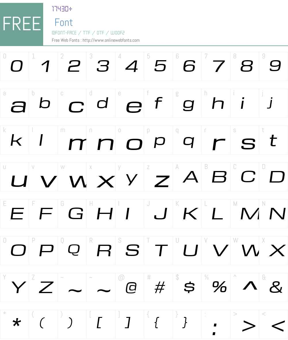 DDTW00-ExtendedItalic Font Screenshots