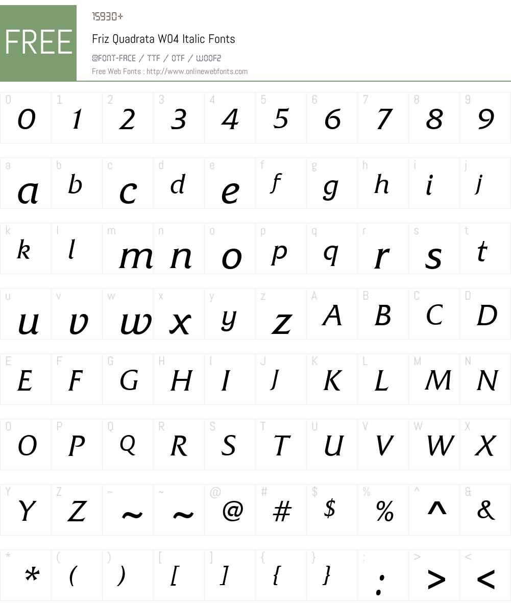 Friz Quadrata Font Screenshots