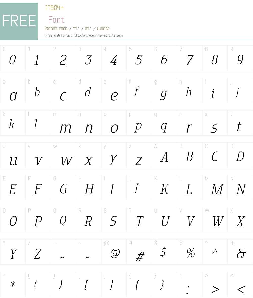 CavoleSlabW01-LightItalic Font Screenshots