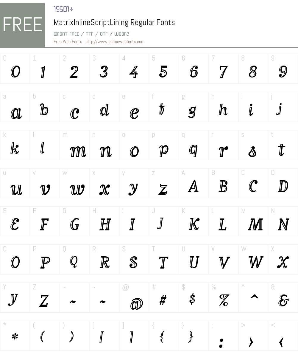 MatrixInlineScriptLining Font Screenshots