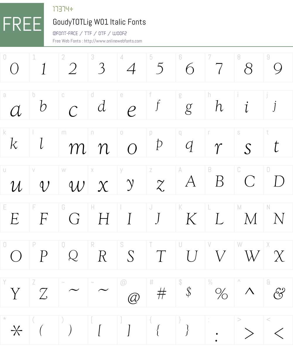 GoudyTOTLigW01-Italic Font Screenshots