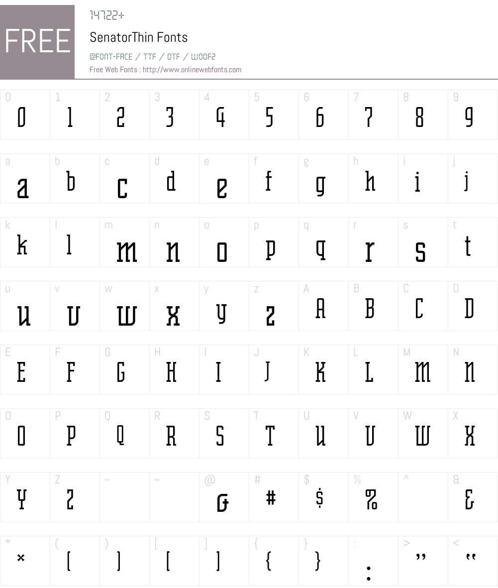 SenatorThin Font Screenshots