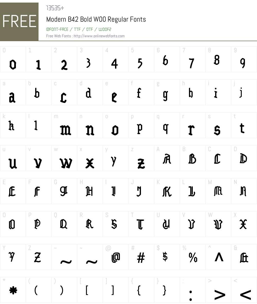 ModernB42BoldW00-Regular Font Screenshots