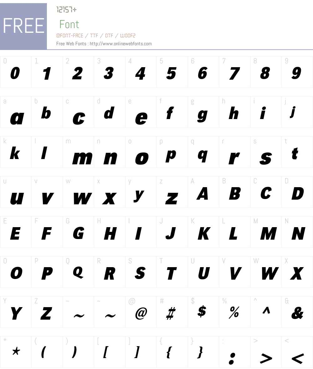 URWGroteskTW01-BdXNarrowObl Font Screenshots