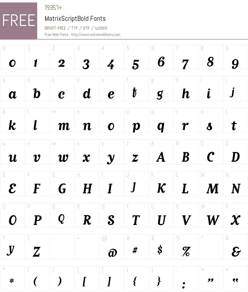 MatrixScriptBold Font Screenshots