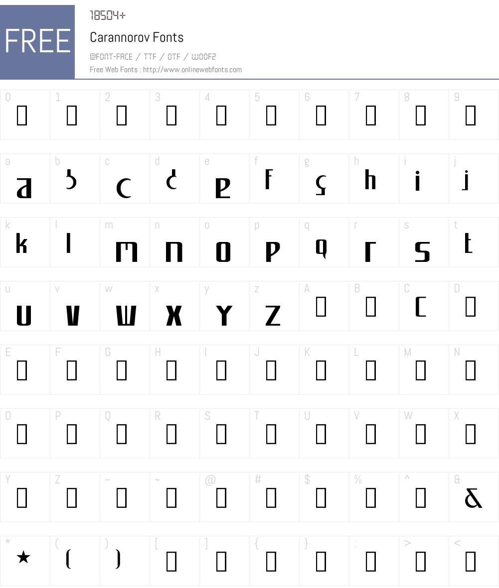 Carannorov Font Screenshots