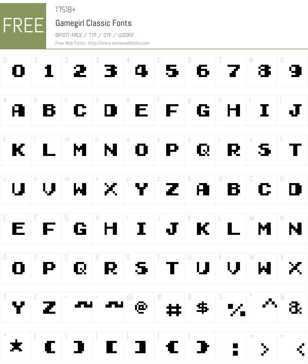 Gamegirl Classic Font Screenshots