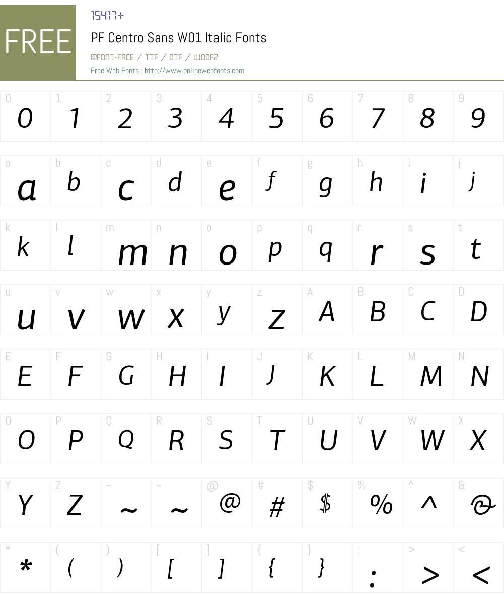 PFCentroSansW01-Italic Font Screenshots