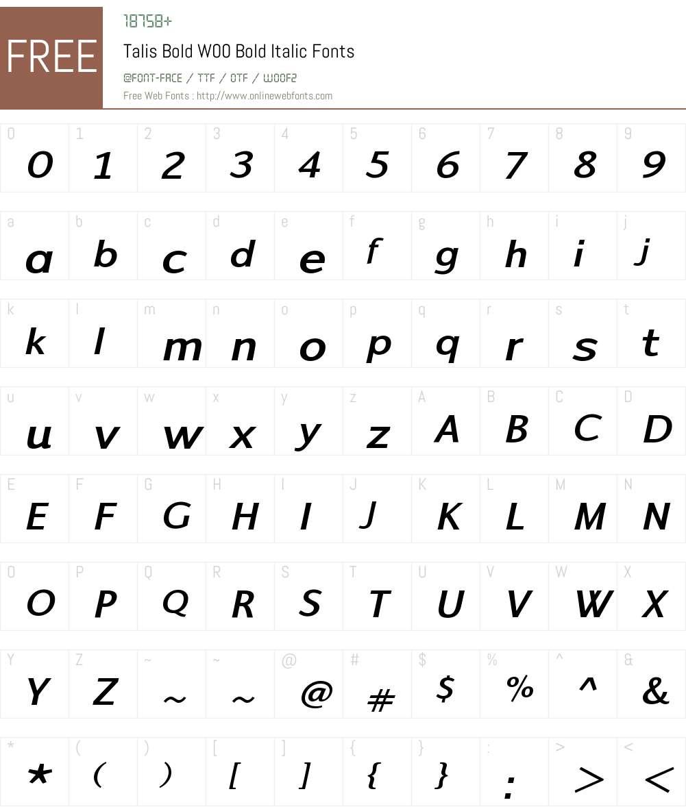 TalisBoldW00-BoldItalic Font Screenshots