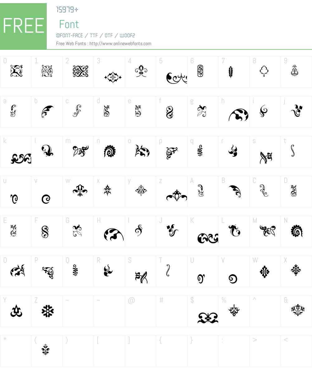 FleuronsW95-Four Font Screenshots