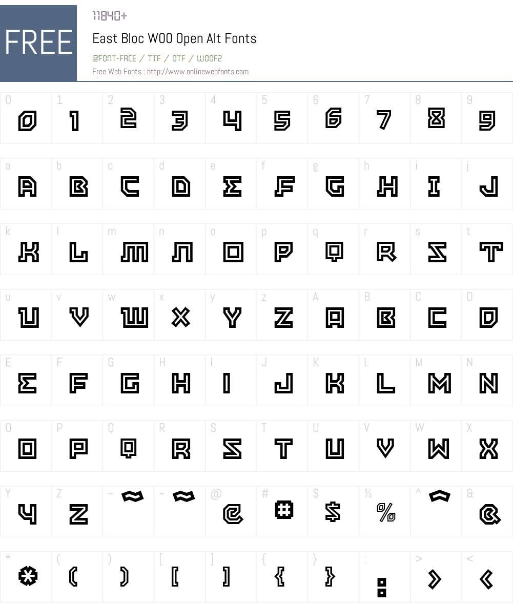 EastBlocW00-OpenAlt Font Screenshots