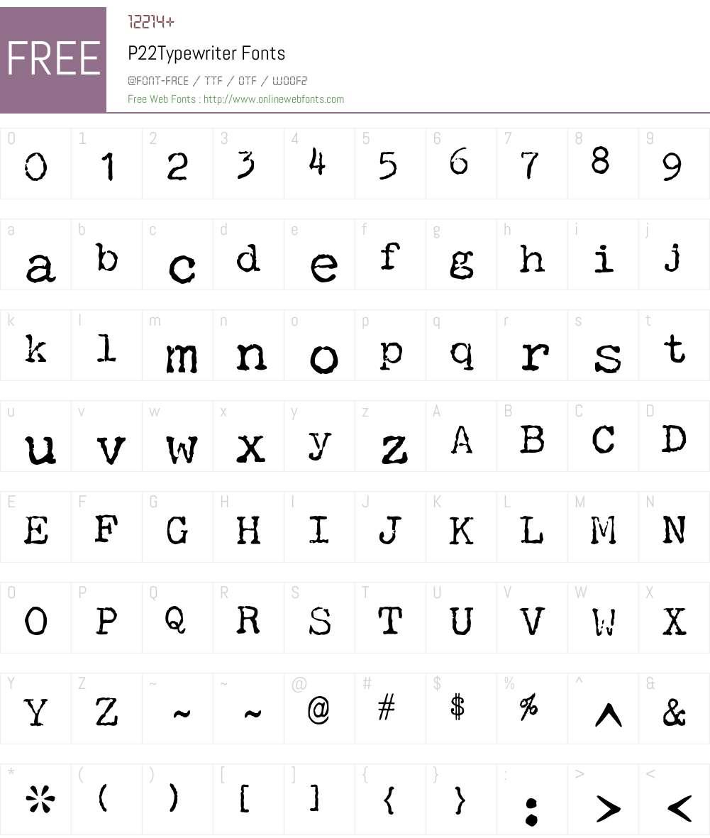 P22Typewriter Font Screenshots