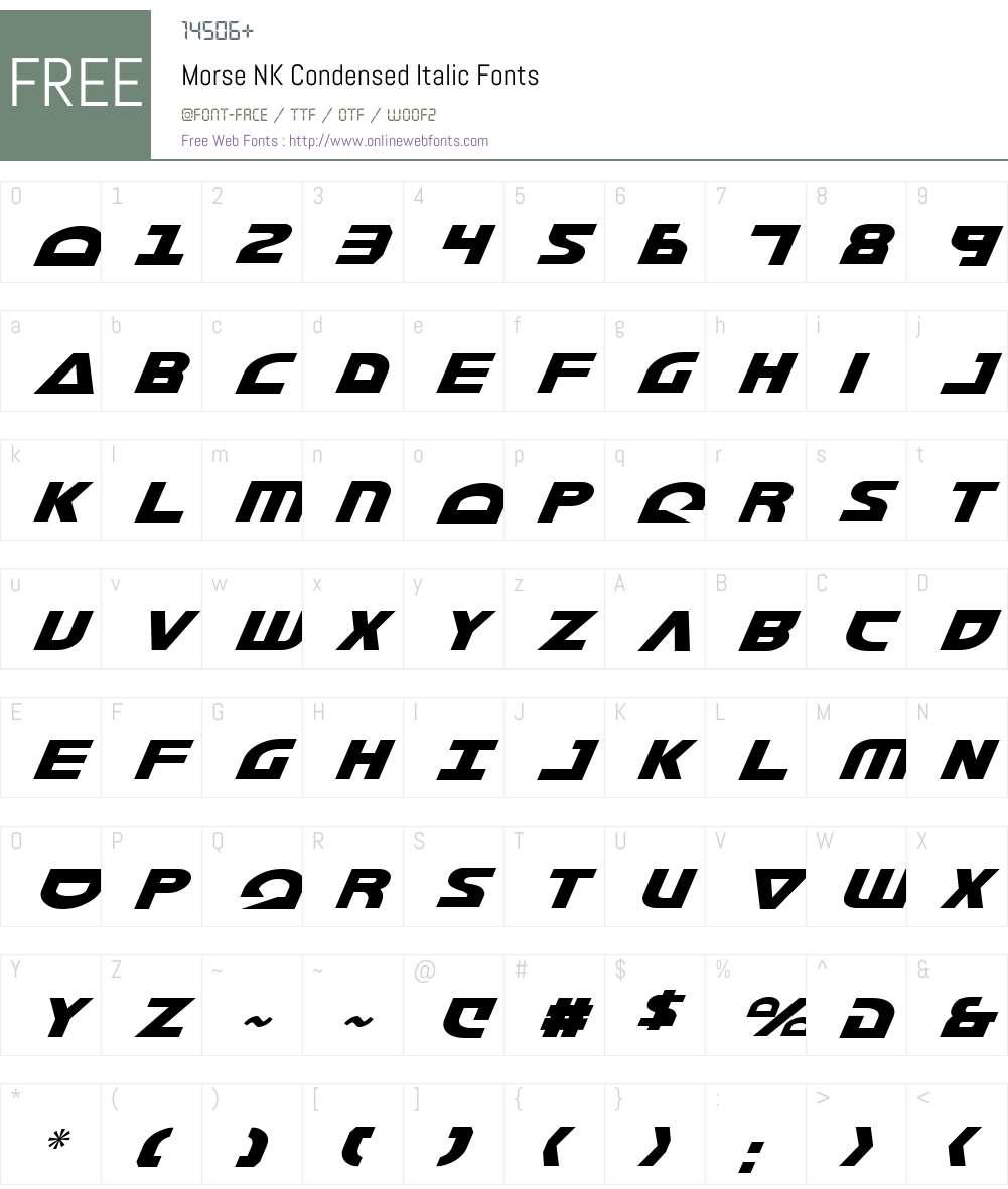 Morse NK Condensed Italic Font Screenshots