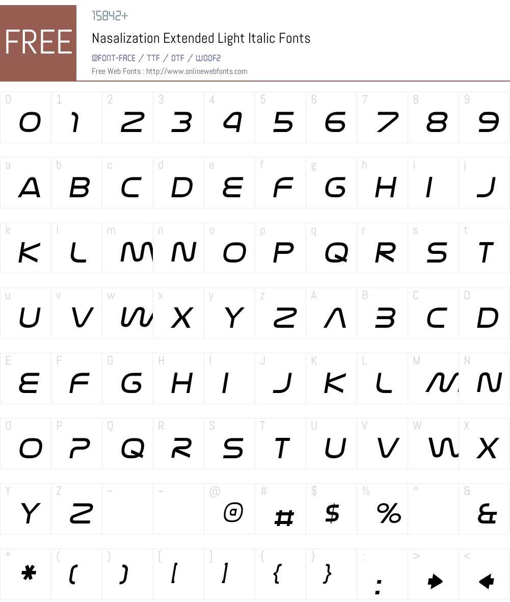 Nasalization Extended Light Font Screenshots
