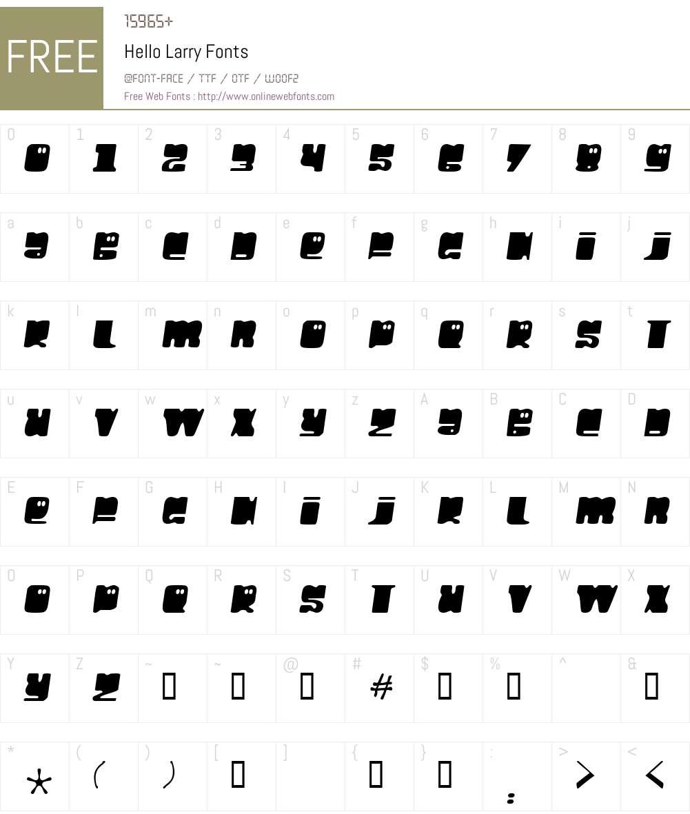 Hello Larry Font Screenshots