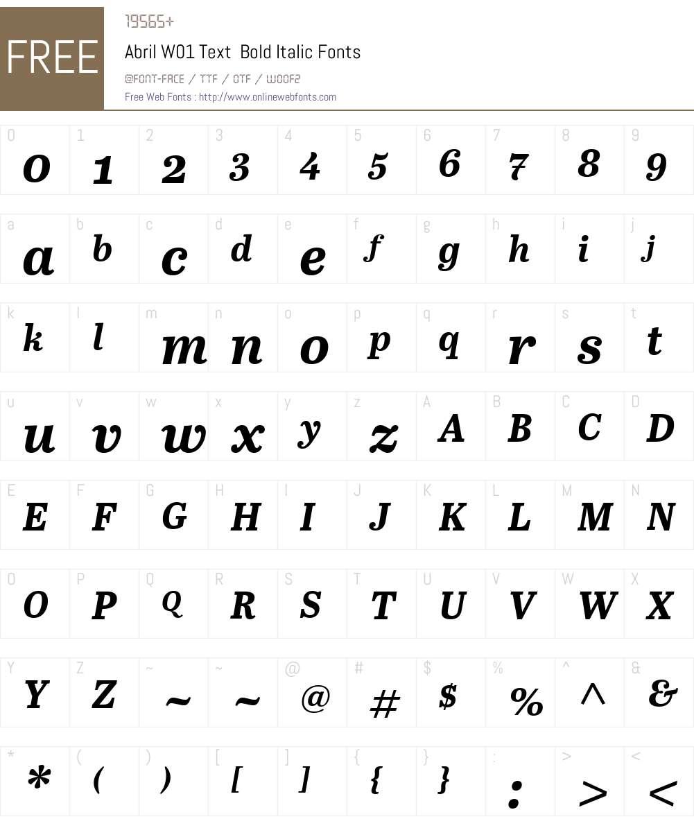 AbrilW01-TextBoldItalic Font Screenshots