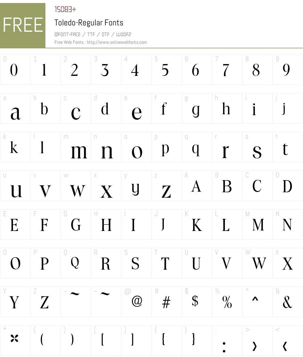Toledo-Regular Font Screenshots